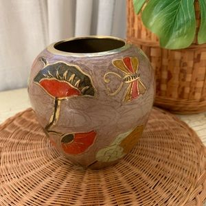enamel Cloisonné vase flower Butterfly Vintage